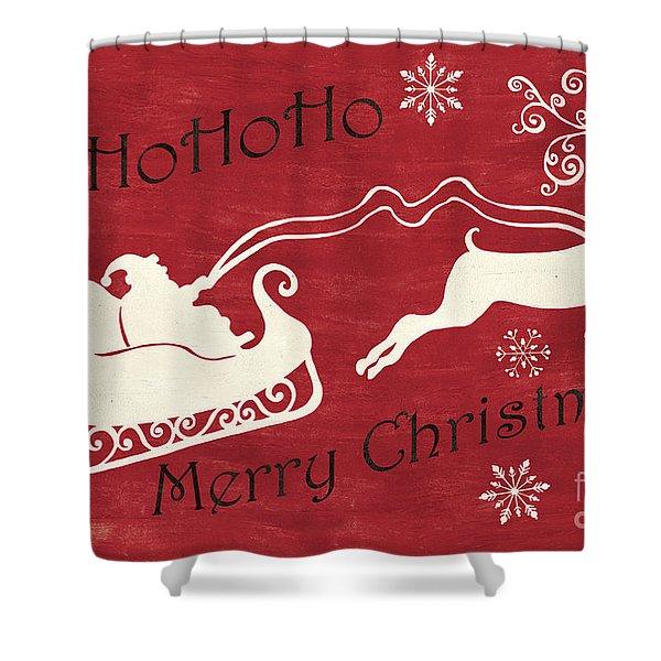 Santa And Reindeer Sleigh Shower Curtain