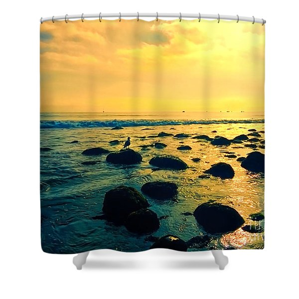 Santa Barbara California Ocean Sunset Shower Curtain