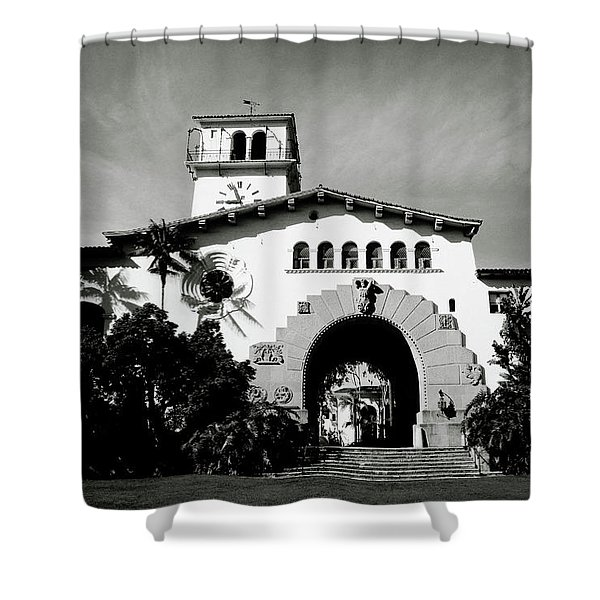 Santa Barbara Courthouse Black And White-by Linda Woods Shower Curtain