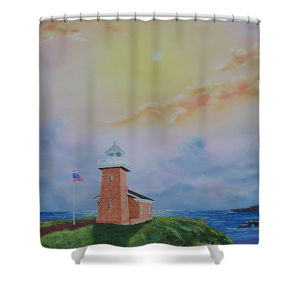 Shower Curtain featuring the painting Santa Cruz Sunset by Mary Scott
