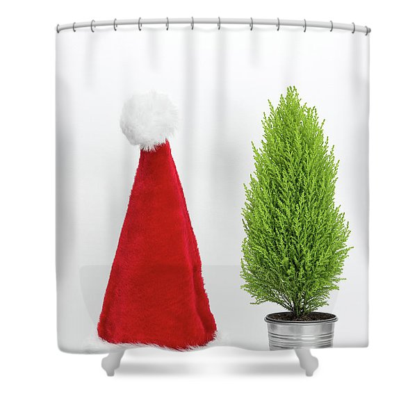 Santa Hat And Little Christmas Tree Shower Curtain