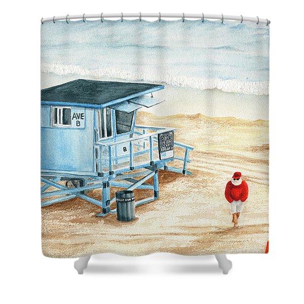 Santa Is On The Beach Shower Curtain