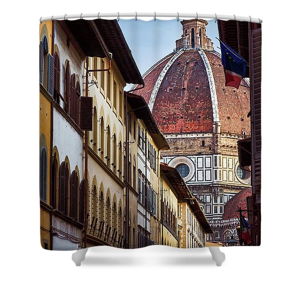 Santa Maria Del Fiore From Via Dei Servi Street In Florence, Italy Shower Curtain