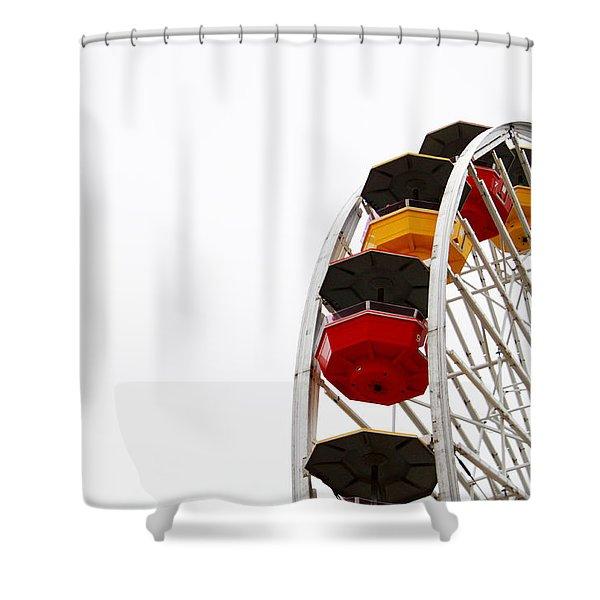 Santa Monica Pier Ferris Wheel- By Linda Woods Shower Curtain