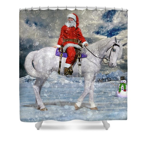 Santa Rides To Town Shower Curtain