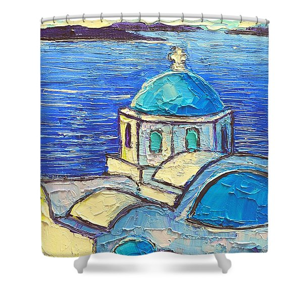 Santorini  Blue Shower Curtain