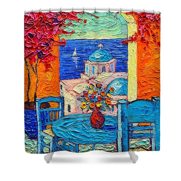 Santorini Dream Greece Contemporary Impressionist Palette Knife Oil Painting By Ana Maria Edulescu Shower Curtain
