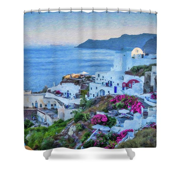 Santorini Greece Dwp416136  Shower Curtain