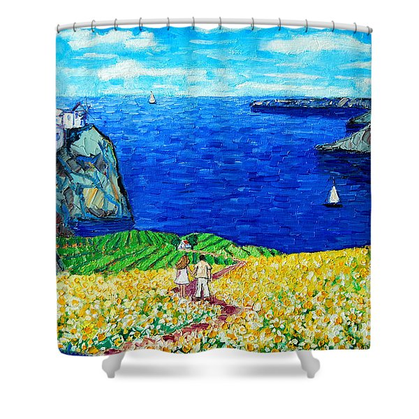 Santorini Honeymoon Shower Curtain