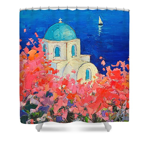 Santorini Impression - Full Bloom In Santorini Greece Shower Curtain