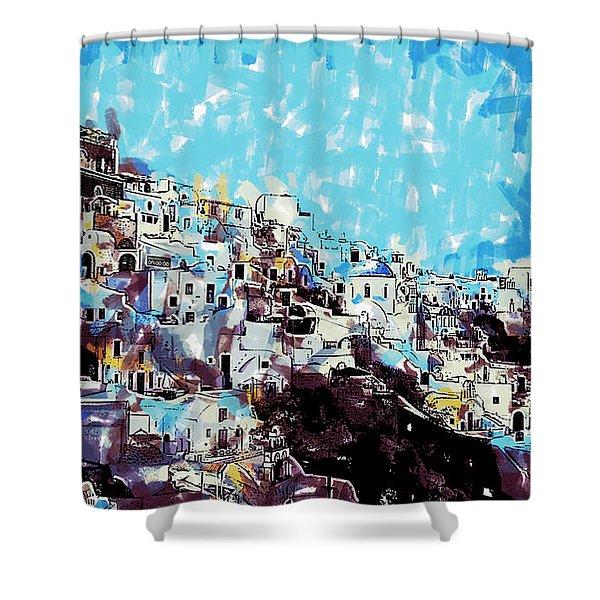 Santorini Island Shower Curtain