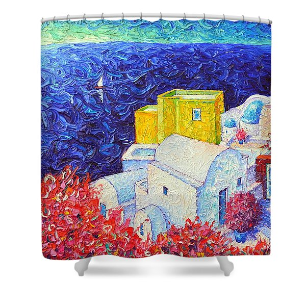 Santorini Oia Colors Modern Impressionist Impasto Palette Knife Oil Painting By Ana Maria Edulescu Shower Curtain
