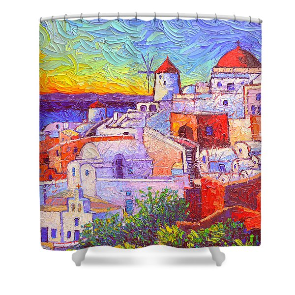 Santorini Oia Sunset Light Modern Impressionism Impasto Palete Knife Oil Painting Ana Maria Edulescu Shower Curtain