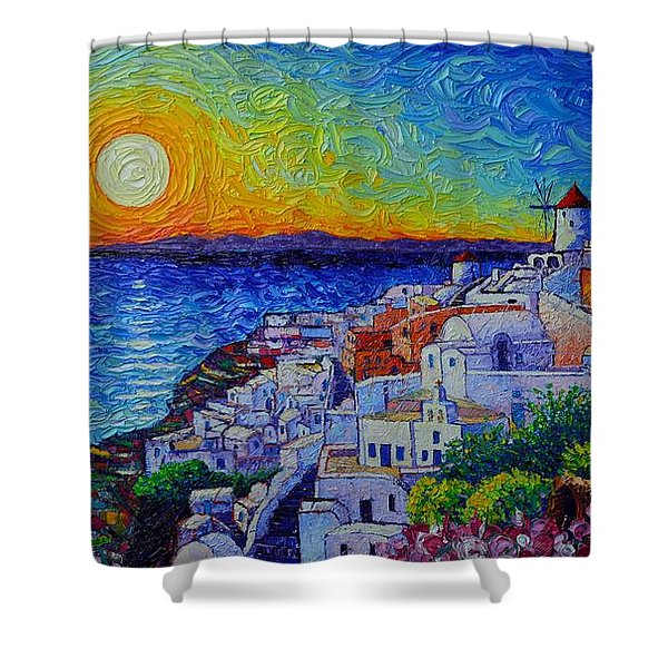Santorini Oia Sunset Modern Impressionist Impasto Palette Knife Oil Painting By Ana Maria Edulescu Shower Curtain