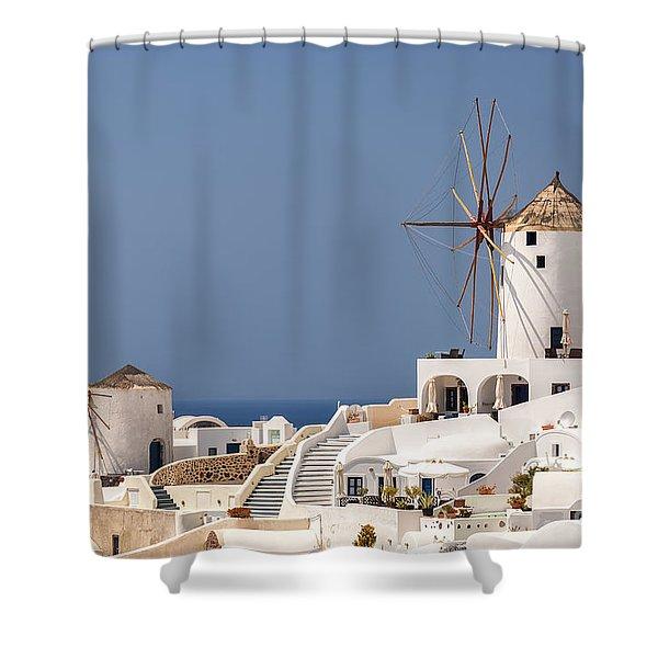 Santorini Oia Windmills Shower Curtain
