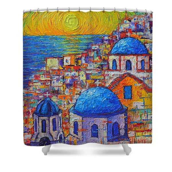 Santorini Sunset - Oia Blue Domes Abstract Cityscape  Shower Curtain