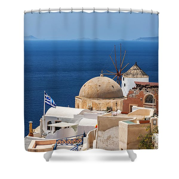 Santorini Windmill And Church Shower Curtain