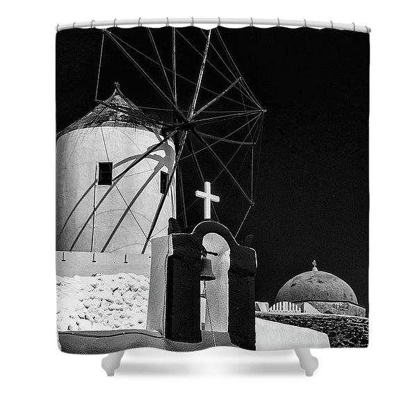 Santorini Windmill Monochromatic Shower Curtain