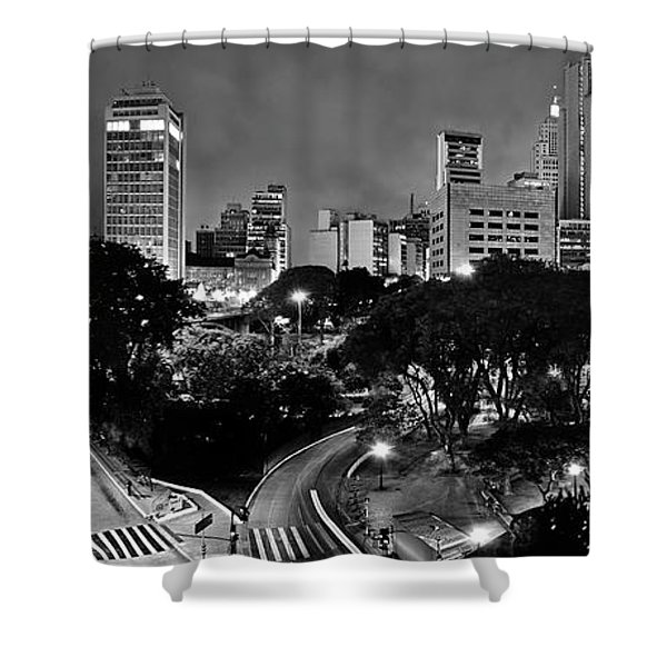 Sao Paulo Downtown At Night In Black And White - Correio Square Shower Curtain