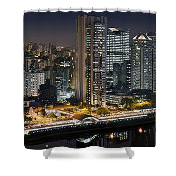 Sao Paulo Iconic Skyline - Cable-stayed Bridge  Shower Curtain
