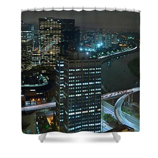 Sao Paulo Skyline Modern Corporate Districts Brooklin Morumbi Chacara Santo Antonio Shower Curtain