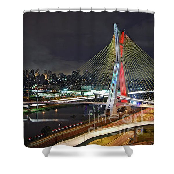 Sao Paulo Skyline - Ponte Estaiada Octavio Frias De Oliveira Wit Shower Curtain