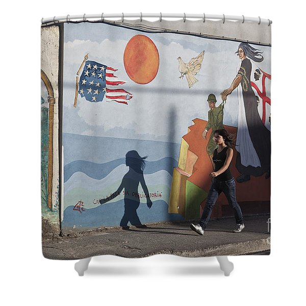 Shower Curtain featuring the photograph Sardinia Wall Painting  by Juergen Held