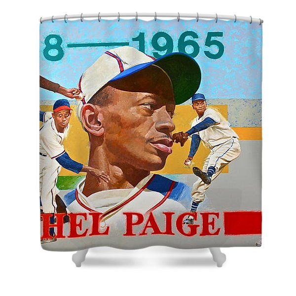 Shower Curtain featuring the painting Satchel Paige by Cliff Spohn