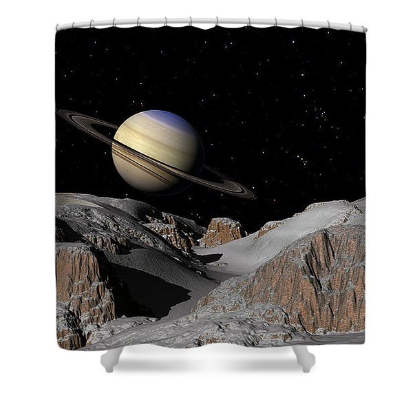 Saturn From The Moon Dione Shower Curtain