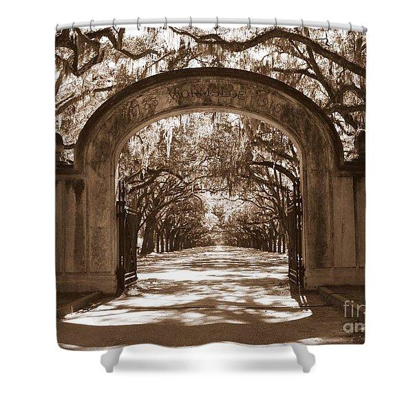 Savannaha Sepia - Wormsloe Plantation Gate Shower Curtain