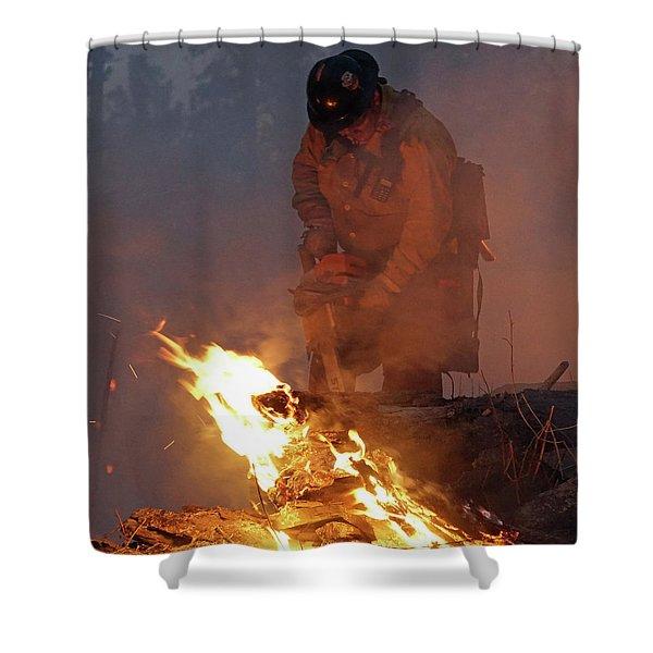 Sawyer, North Pole Fire Shower Curtain