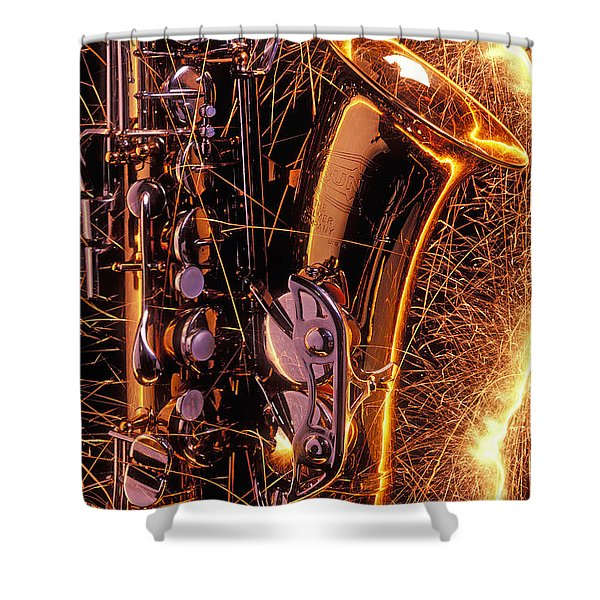 Sax With Sparks Shower Curtain