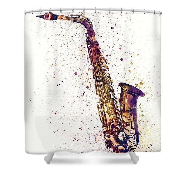 Saxophone Abstract Watercolor Shower Curtain