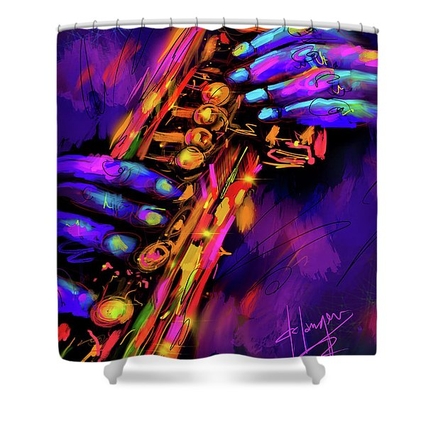 Saxy Hands Shower Curtain