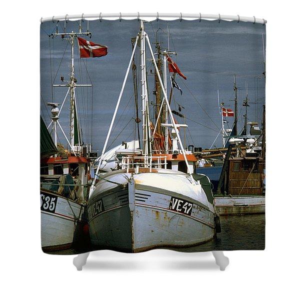 Scandinavian Fisher Boats Shower Curtain