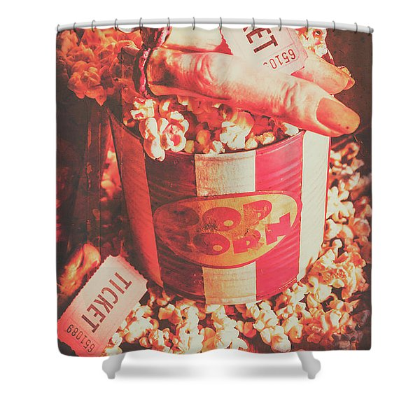 Scary Vintage B-grade Horror Movies Shower Curtain