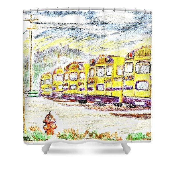 School Bussiness Shower Curtain