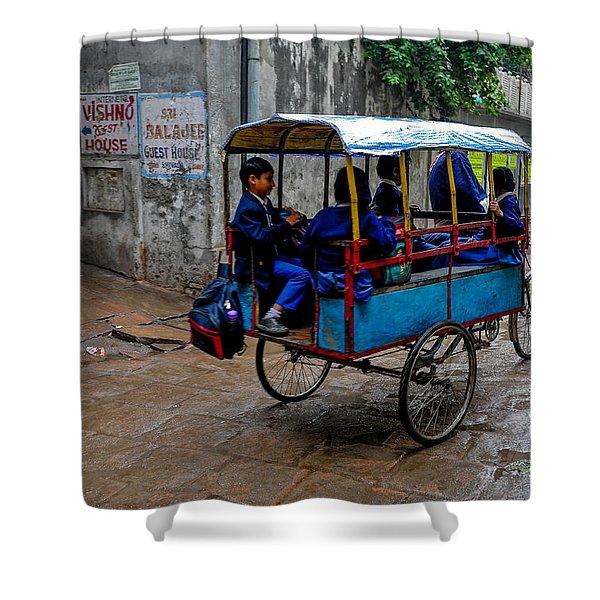 School Cart Shower Curtain