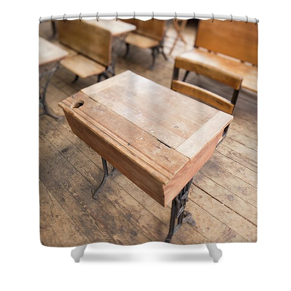 School Desks In A One Room School Building Shower Curtain