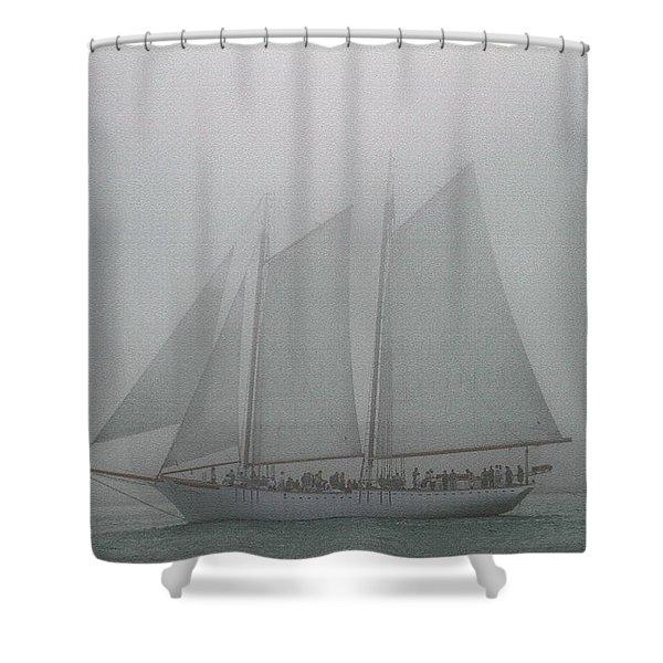 Schooner In Fog Shower Curtain