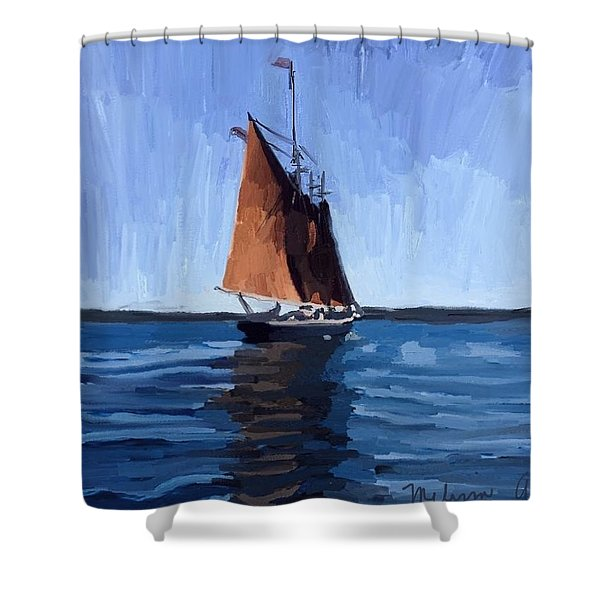Schooner Roseway In Gloucester Harbor Shower Curtain