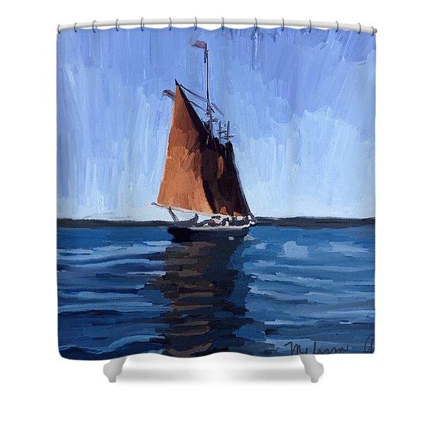Schooner Roseway In Gloucester Harbor Shower Curtain