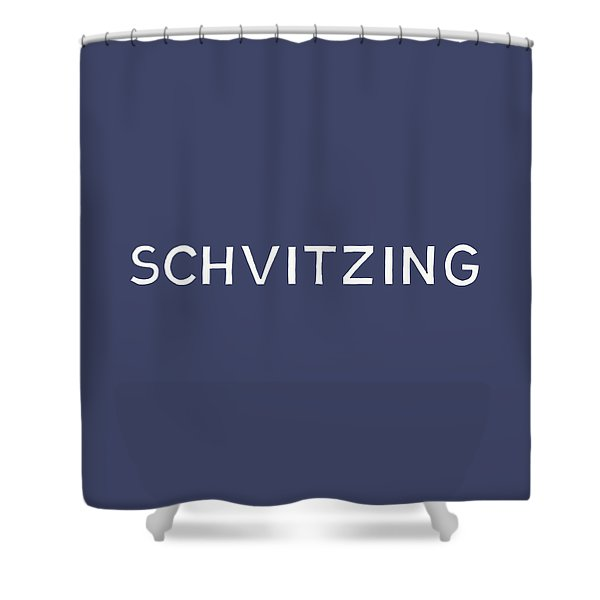 Schvitzing Navy And White- Art By Linda Woods Shower Curtain