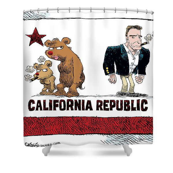 Schwarzenegger Love Child Flag Shower Curtain