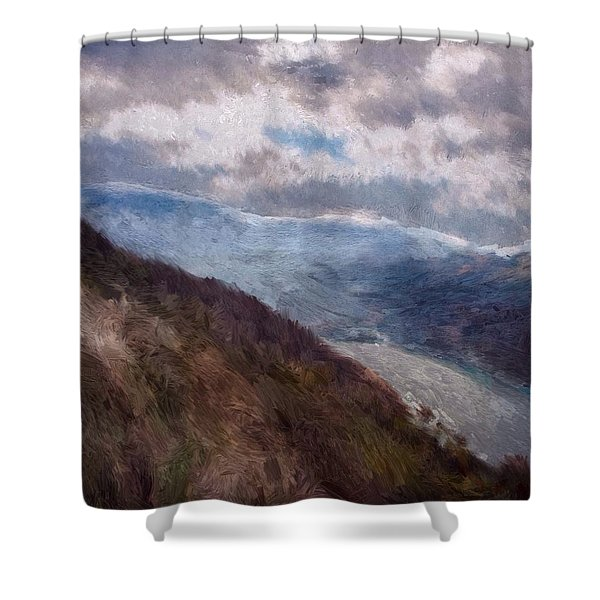 Shower Curtain featuring the painting Scottish Landscape by Mark Taylor