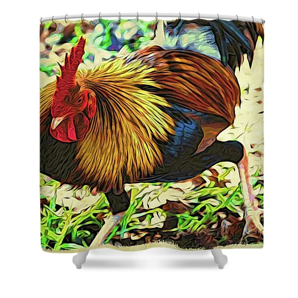 Scratching Rooster Shower Curtain