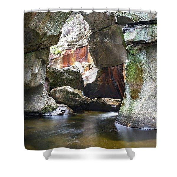 Screw Auger Falls Cavern Shower Curtain