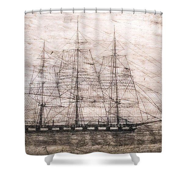 Scrimshaw Whale Panbone Shower Curtain