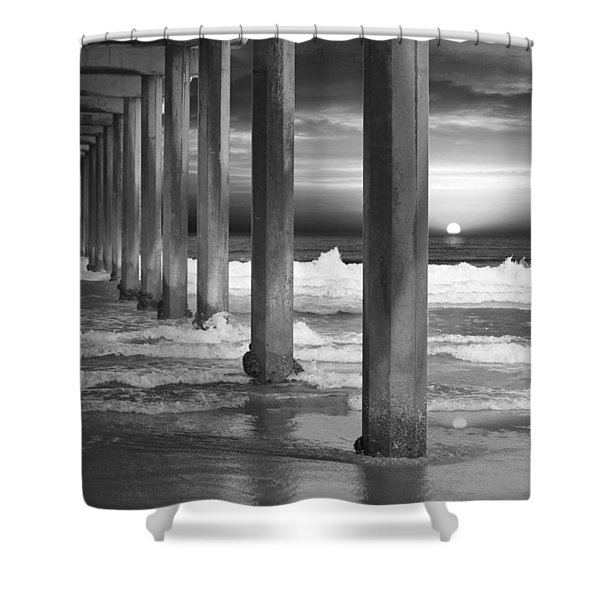 Scripps Pier At Sunset - Black And White Shower Curtain