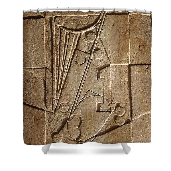 Sculptured Panel - Influenced By Picasso's Painting Having The Number 1 Shower Curtain